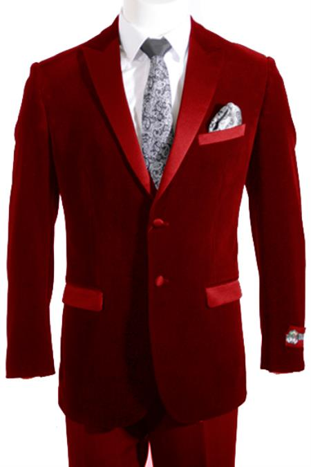 MensUSA 2 Button Peak Lapel Velvet ~ Velour Tuxedo / Blazer with Satin Lapel Side Vent Burgundy at Sears.com