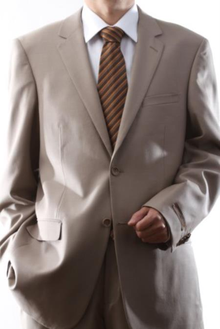 MensUSA.com Men's Single Breasted 2 Button Super 140s Wool Tan Dress Suit Tan(Exchange only policy) at Sears.com