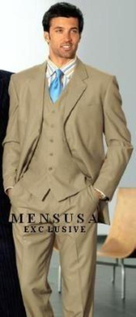 SKU# 887 1 One Pleat Pants With 3 Buttons Tan Side Vent Jacket Super Light Weight Viscose~Rayon Fabric $185