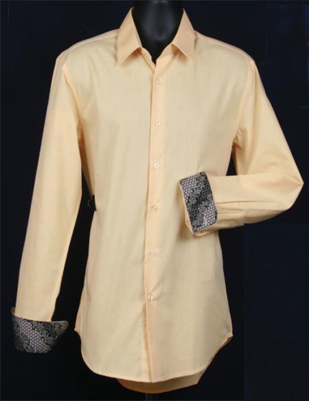 SKU#KA6821 Mens Fancy Slim Fit Dress Shirt - Cuff Pattern