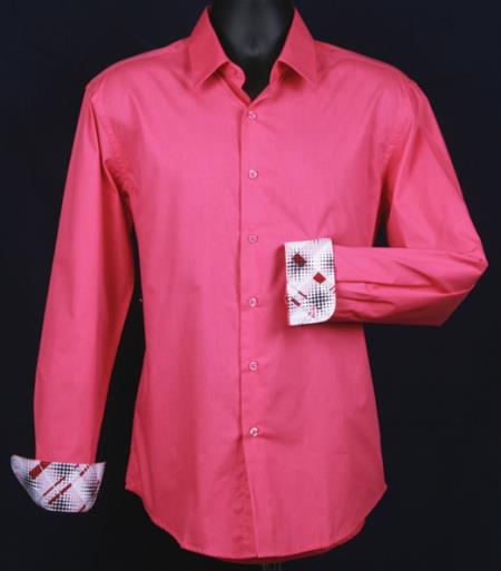 SKU#KA5503 Mens Fancy Slim Fit Dress Shirt - Cuff Pattern