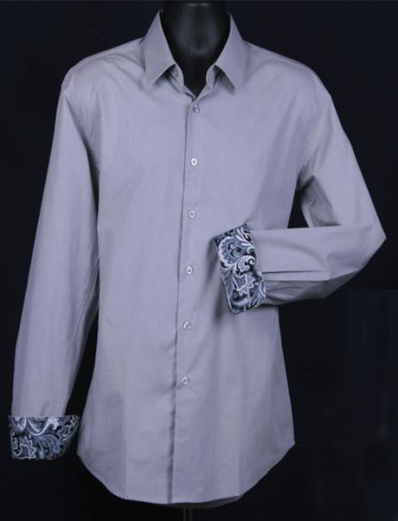 SKU#KA5537 Mens Fancy Slim Fit Dress Shirt - Cuff Pattern