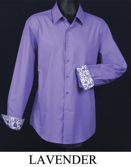 SKU#KA5589 Mens Fancy Slim Fit Dress Shirt - Cuff Pattern Lavender