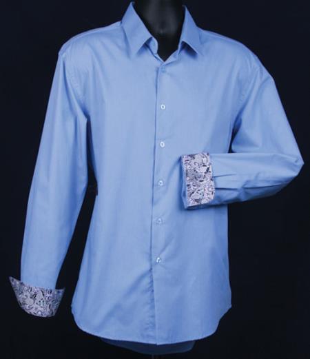 SKU#KA5596 Mens Fancy Slim Fit Dress Shirt - Cuff Pattern Light Blue