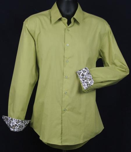 SKU#KA6637 Mens Fancy Slim Fit Dress Shirt - Cuff Pattern - lime mint