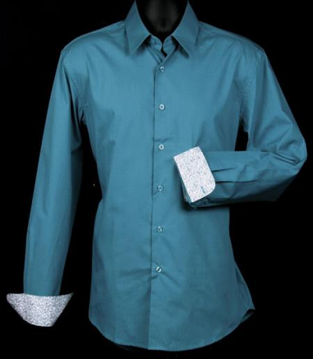 SKU#KA5179 Mens Fancy Slim Fit Dress Shirt - Cuff Pattern - Teal $39