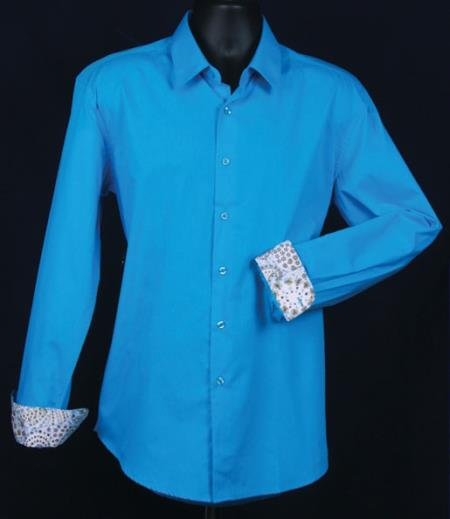 SKU#KA5584 Mens Fancy Slim Fit Dress Shirt - Cuff Pattern - Turquoise $39