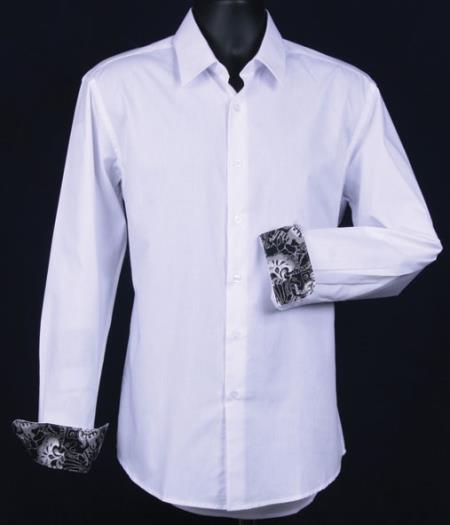 SKU#KA6658 Mens Fancy Slim Fit Dress Shirt - Cuff Pattern - White $39