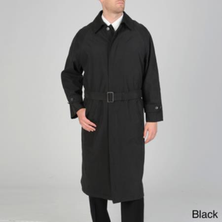 SKU#RC-1746 Mens Renny Full-length Belted Raincoat Black