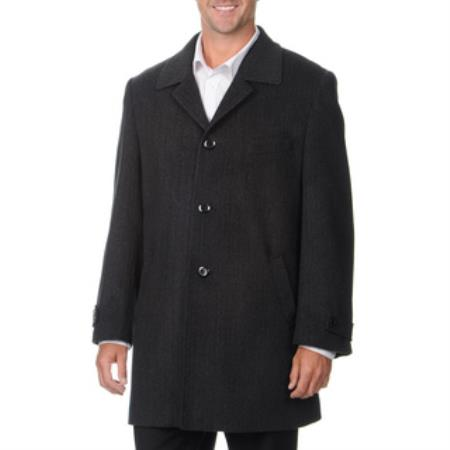 MensUSA.com Pronto Moda Europa Men's Car Coat 'Rodeo' Charcoal Cashmere Blend Top Coat(Exchange only policy) at Sears.com