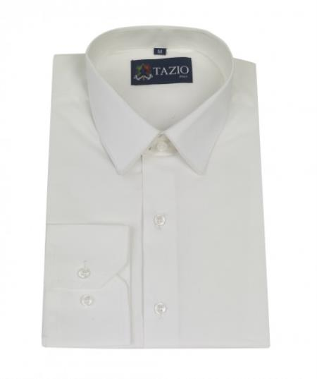 SKU#KA5791 Mens Dress Shirt Slim Fitted White