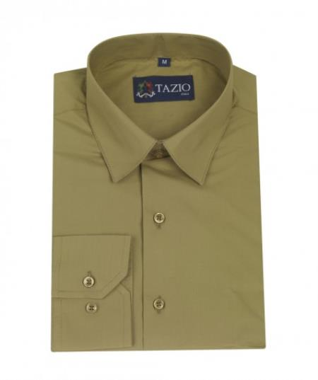 SKU#KA5820 Mens Dress Shirt Slim Fit - Olive Green $39
