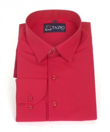 SKU#KA6632 Mens Dress Shirt Slim Fit - Red