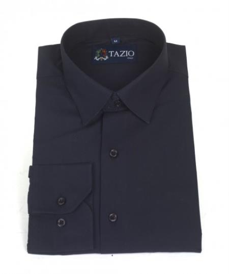 SKU#KA2289 Mens Dress Shirt Slim Fit - Dark Navy Blue