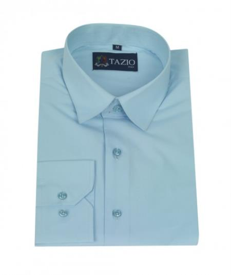 SKU#KA8796 Mens Dress Shirt Slim Fit - Aqua Blue