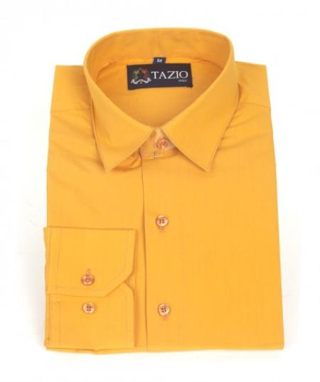 SKU#KA5502 Mens Dress Shirt Slim Fit - Orange $39