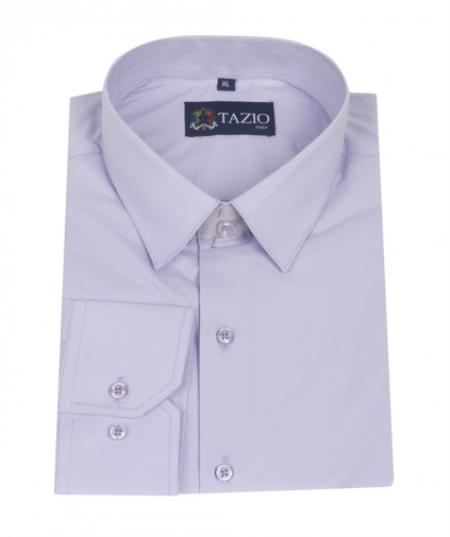 SKU#KA8632 Mens Dress Shirt Slim Fit - Lavender