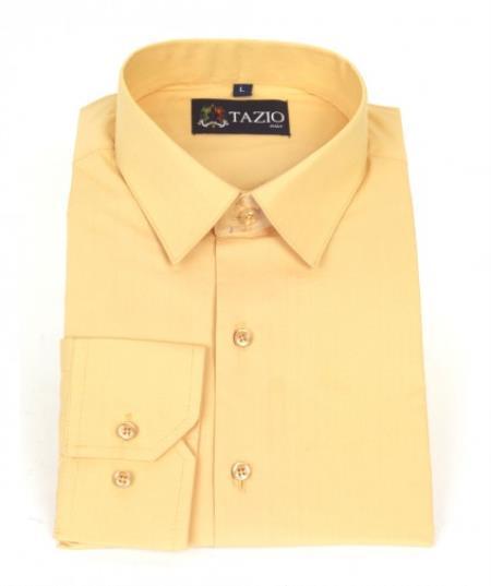 SKU#KA6698 Mens Dress Shirt Slim Fit - Peach