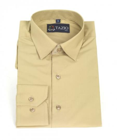 SKU#KA9931 Mens Dress Shirt Slim Fit -Tan