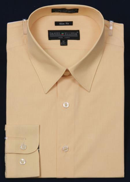 SKU#KA2055 Mens Slim Fit Dress Shirt - Corn Color $29