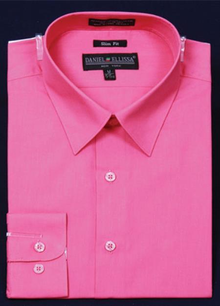 SKU#KA6690 Mens Slim Fit Dress Shirt - fuchsia ~ hot Pink Color