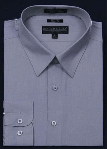 SKU#KA5671 Men's Slim Fit Dress Shirt - Gray Color