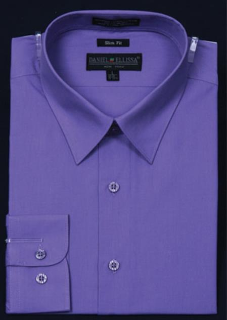 SKU#KA5672 Mens Slim Fit Dress Shirt - Lavender Color