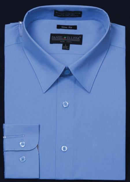 SKU#KA5673 Mens Slim Fit Dress Shirt - Light Blue Color