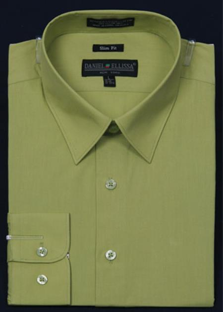 SKU#KA5674 Mens Slim Fit Dress Shirt - lime mint Color