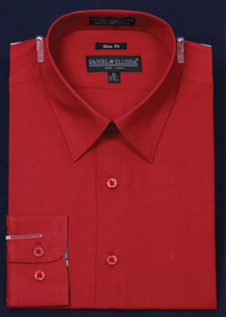 SKU#KA5675 Mens Slim Fit Dress Shirt - Red Color