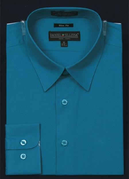 SKU#KA5676 Mens Slim Fit Dress Shirt - Teal Color