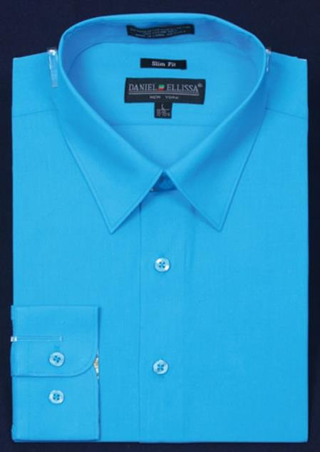 SKU#KA5677 Mens Slim Fit Dress Shirt - turquoise ~ Light Blue Stage Party Color