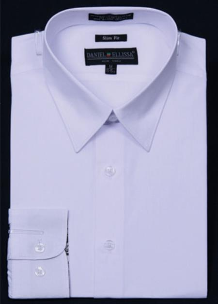SKU#KA5678 Mens Slim Fit Dress Shirt - White Color $29