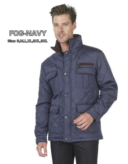 SKU#V-39R Long Sleeve Quilted Jacket in Blue or Brown $175