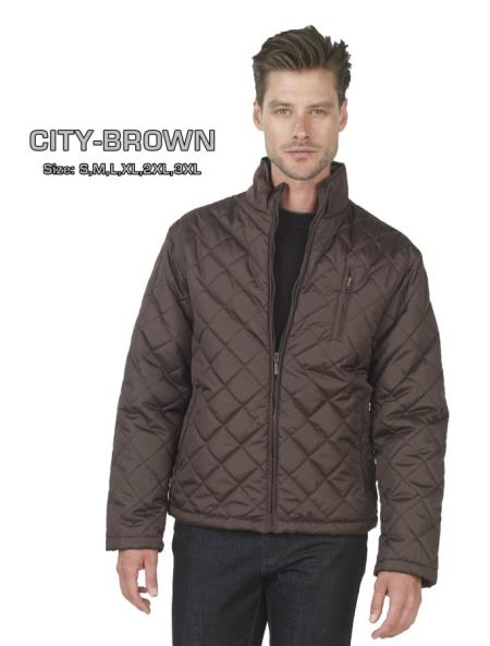 MensUSA.com Long Sleeve Quilted Jacket in Blue or Brown(Exchange only policy) at Sears.com