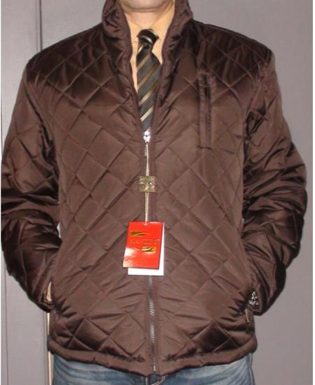 SKU#G-83K Mantoni Long Sleeve Quilted City Jacket Brown $175
