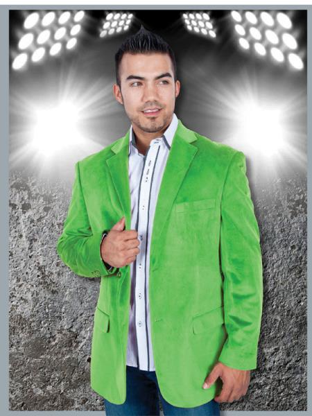 SKU#SB-298 Casual Velvet ~ Velour Apple Green, Mint, Lime Sport Jacket Blazer $139