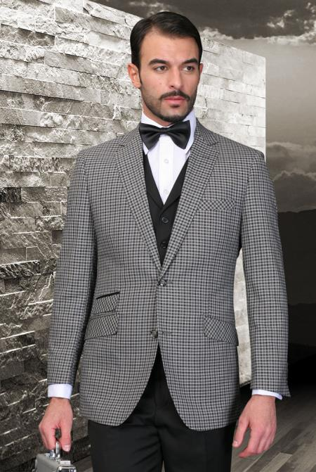 SKU#2T-R Palace Black Classic 3 Piece 2 Button Square Windowpane Pattern Ticket Pocket with Solid Lapeled Vest and Pants $185