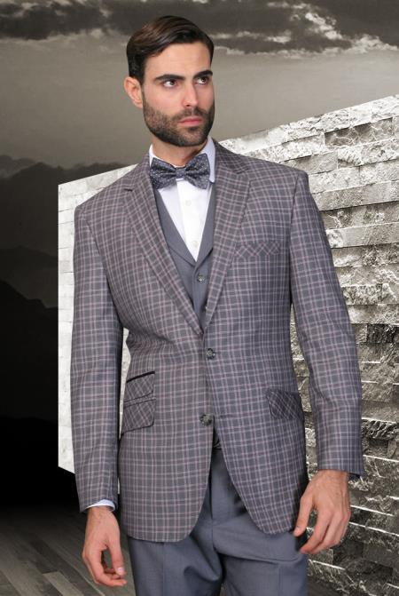 SKU#7R-Q Palace Charcoal Classic 3 Piece 2 Button Square Windowpane Pattern Ticket Pocket with Solid Lapeled Vest and Pants $185