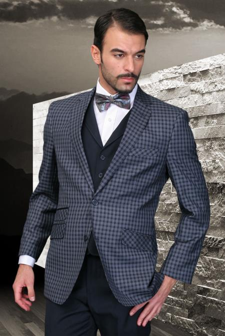 SKU#4Z-P Palace Indigo Classic 3 Piece 2 Button Square Windowpane Pattern Ticket Pocket with Solid Lapeled Vest and Pants $185