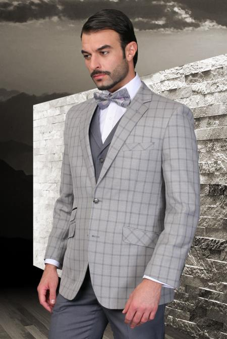 SKU#5Y-J Palace Grey Classic 3 Piece 2 Button Square Windowpane Pattern Ticket Pocket with Solid Lapeled Vest and Pants $185