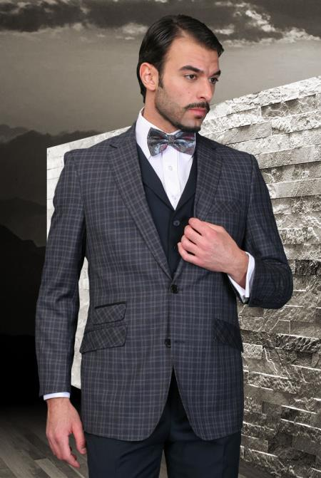 SKU#9Q-D Palace Navy Classic 3 Piece 2 Button Square Windowpane Pattern Ticket Pocket with Solid Lapeled Vest and Pants $185
