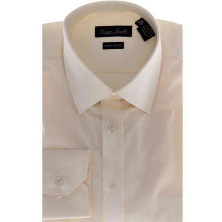 SKU#KA6985 Mens Slim-Fit Dress Shirt - Solid beige