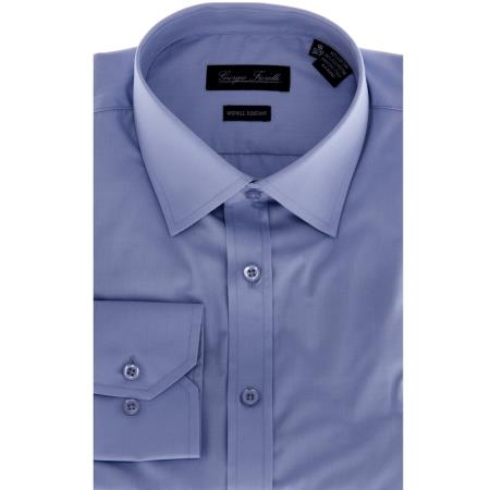 SKU#KA6986 Mens Blue Slim-Fit Dress Shirt