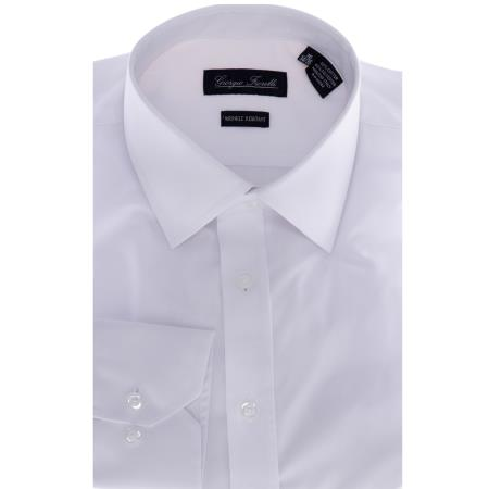 SKU#KA6998 Mens White Slim-Fit Dress Shirt