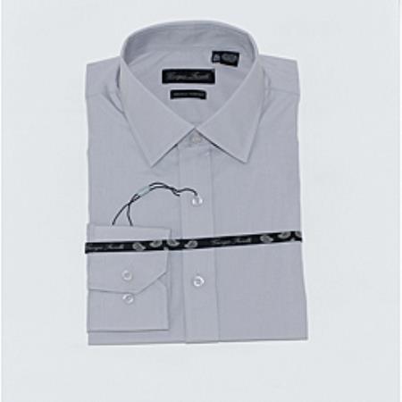 SKU#KA6332 Mens Gray Slim-Fit Dress Shirt