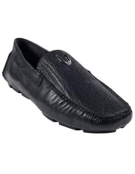 Mens Black Genuine Shark Drivers Vestigium Driving Shoes slip on loafers for men