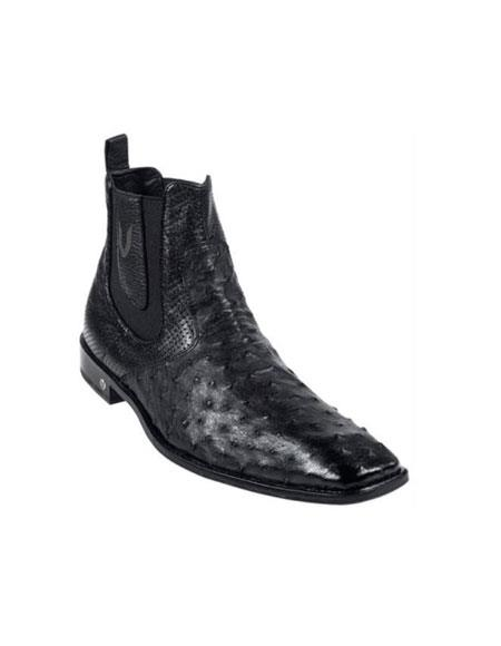 Mens Black Full Quill Ostrich Dressy Boot Ankle Dress Style For Man