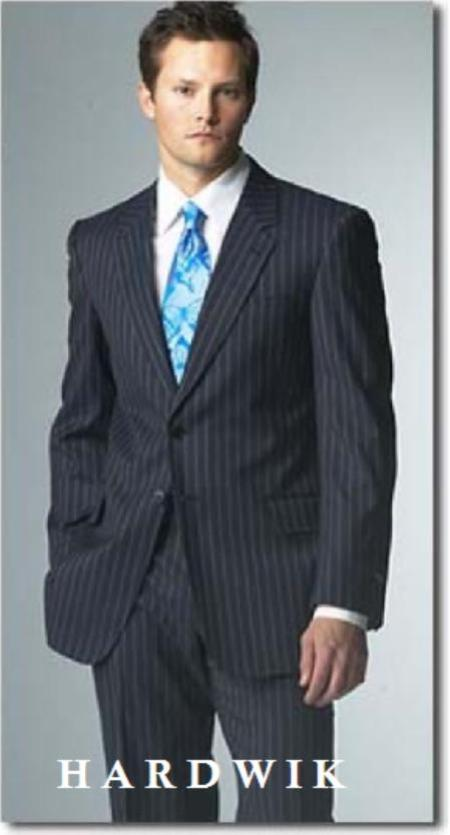 SKU# Two Button Navy Blue Pinstrip Suits With Flat Front Pants 5 Colors