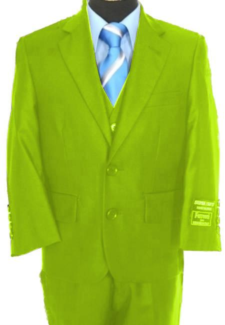 SKU#F-4125 Boys 3 Piece 2 Button Suit Lime Green ~ Apple ~ Neon Bright Green $139